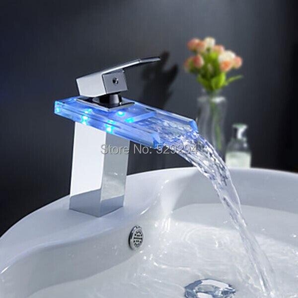 Стеклянный, со светодиодной лампой водопад смеситель для Ванная комната. Torneira светодиодный. Chrome закончил красочные бортике раковина смесит...