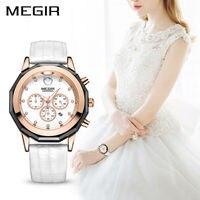 Megir Fashion Red White Watch Genuine Leather Band Female Women Bracelet Watches Quartz Wristwatch Waterproof Relogio