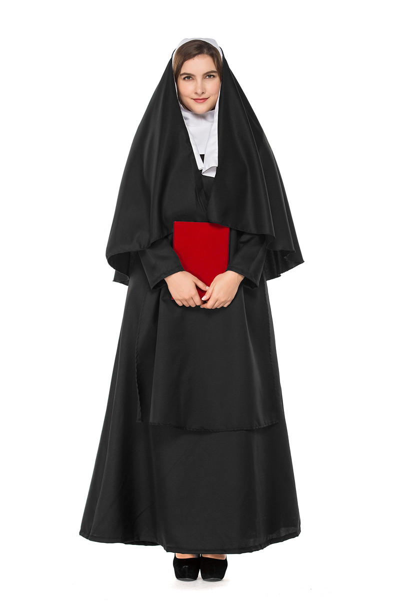 plus size Halloween Party Nun Costumes Female Pastor Sister Clothes Womens Classic Priest Pastor Sister Cosplay Costume A012