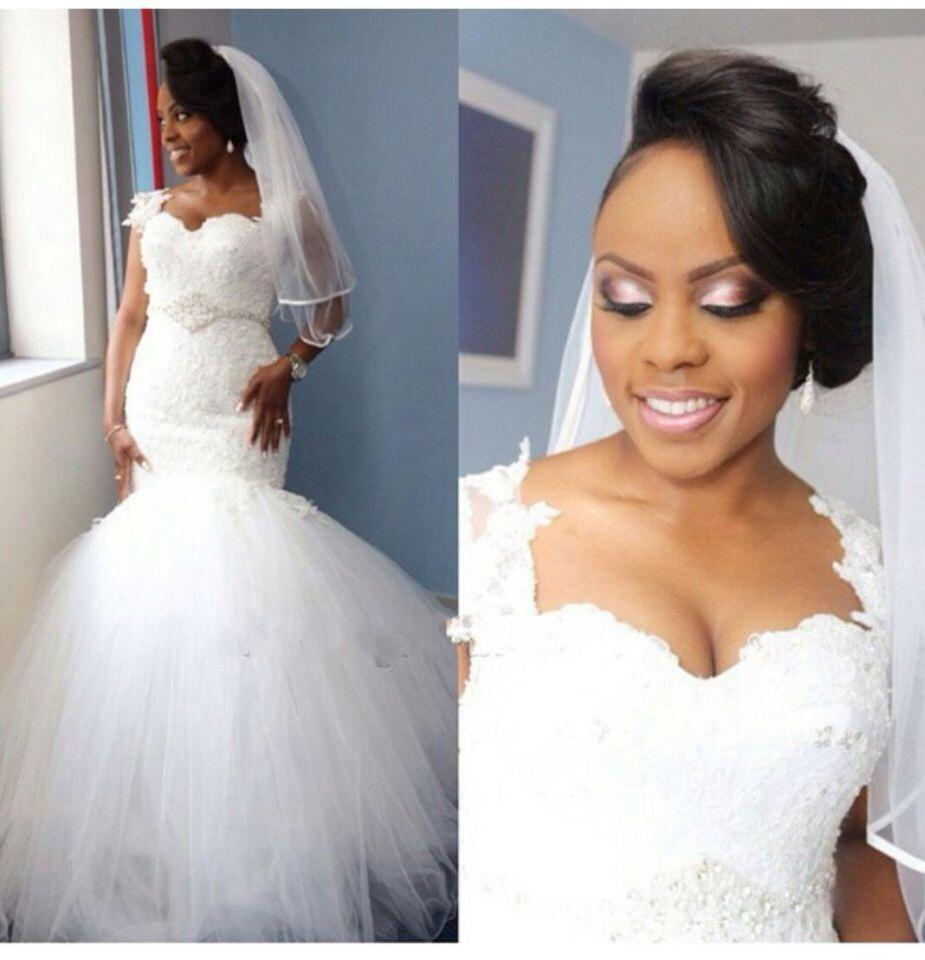 2017 Nigerian Mermaid Wedding Dress Sweetheart Lace Sheer Tulle Wedding  Gowns Applique Lace Plus Size Bridal Dress WA71-in Wedding Dresses from  Weddings ... 3d4b82e0cac7