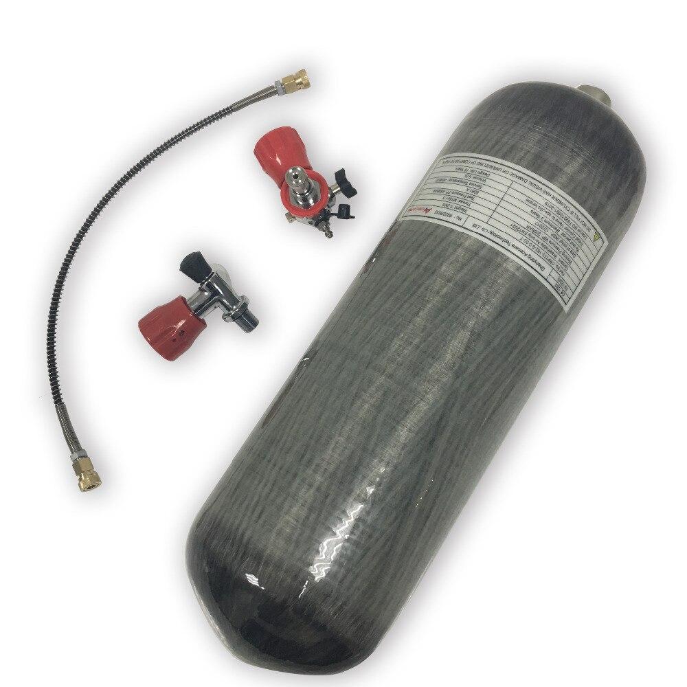 Acecare Promozione Calda HP In Fibra di Carbonio Cilindro 9L Serbatoio Paintball PCP Valvola di Pistola Ad Aria per la Caccia con il Rosso e stazione di rifornimento