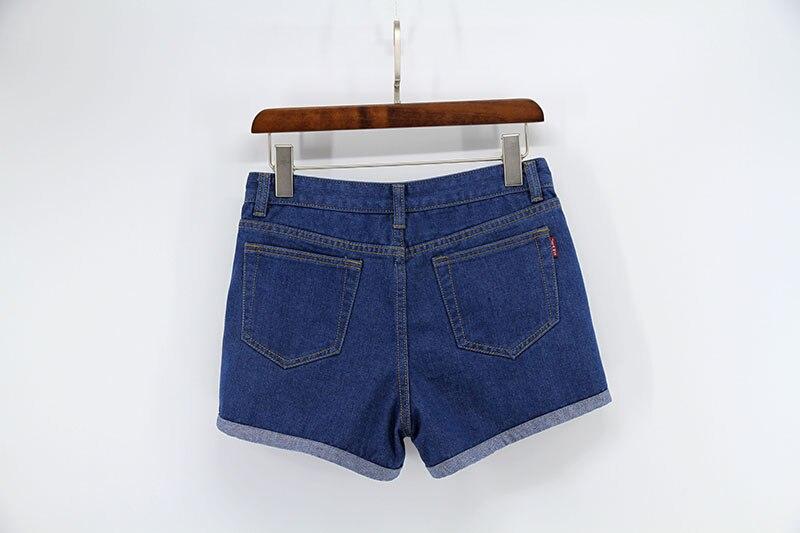 Blue Crimping Denim Jeans Shorts For Women 65
