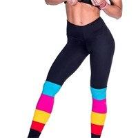 المرأة اللياقة البدنية اليوغا الرياضية rainbow المتناقضة الملونة طماق السراويل اليوغا الجري رياضة الجوارب السراويل السراويل الرياضية