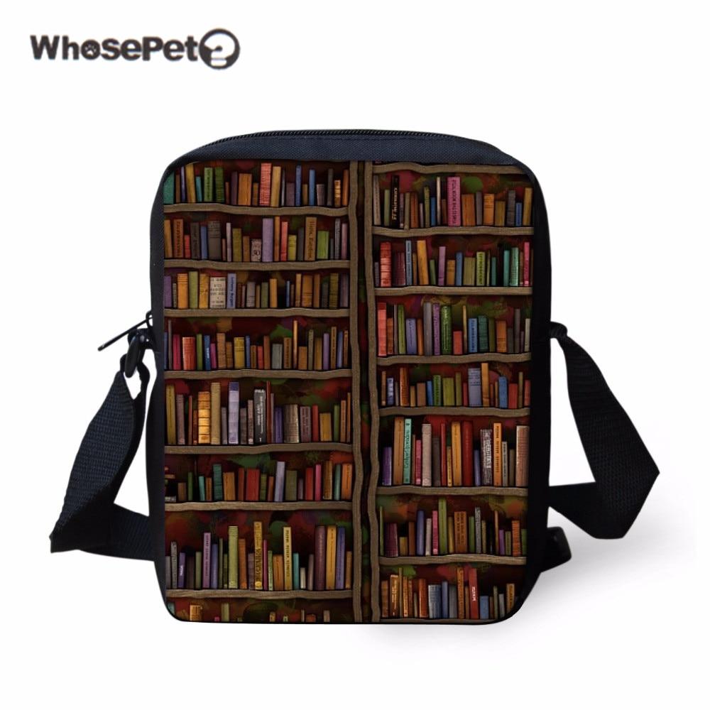 Zonnig Whosepet Boek Crossbody Tas Boekenplank Schoudertas Voor Vrouwen Mannen Retro Bibliotheek Meisjes Jongens Leisure Messenger Bag Retro Sac Een Belangrijkste