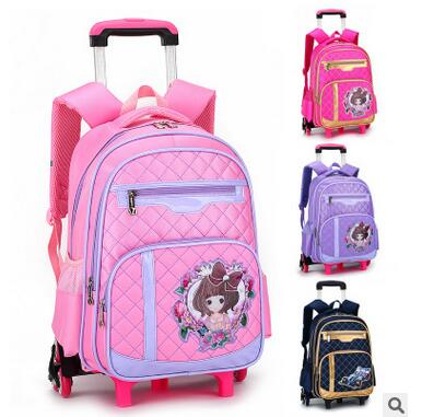 Girls Travel Trolley Backpack On wheels Children Trolley School backpacks kids luggage Trolley Rolling Bag School Backpack