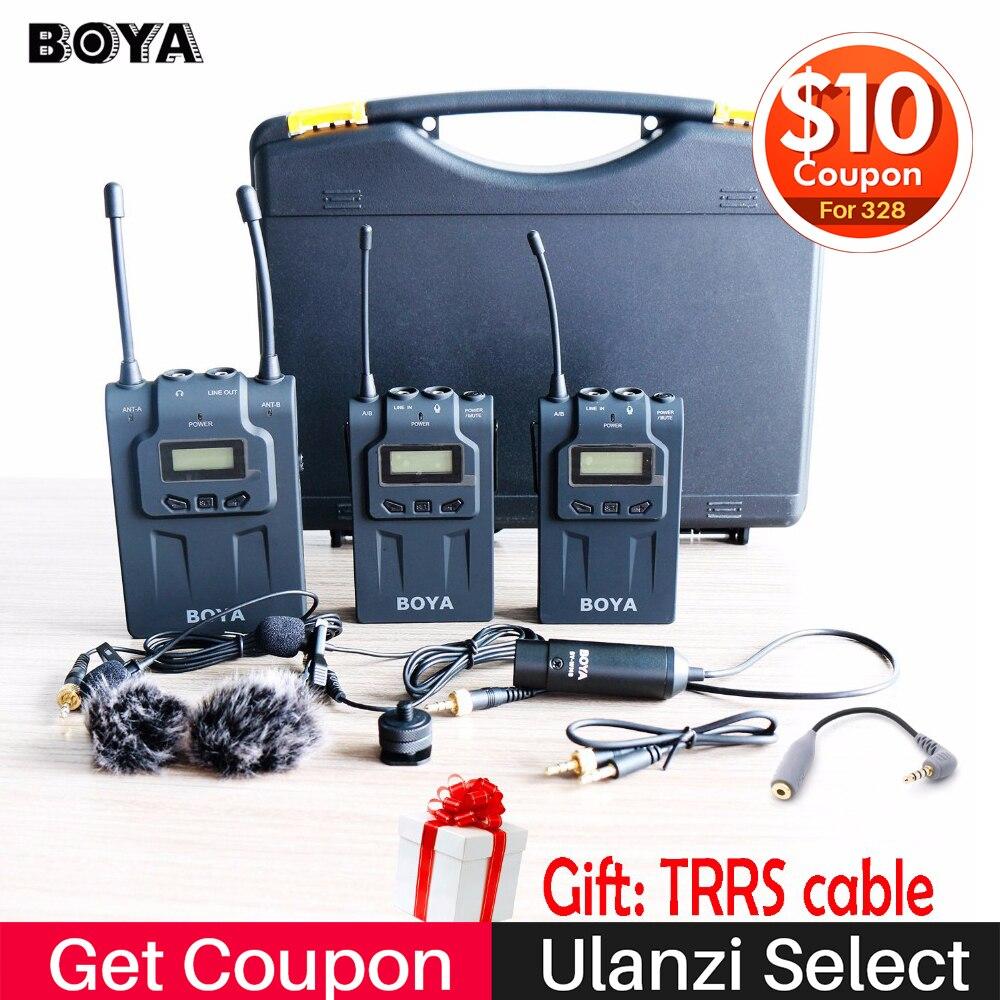 BOYA BY-WM8 Wireless Lavalier Microfono per iPhone X 7 Plus 8 Più A Doppio Canale Sistema di Microfono per Canon Nikon DSLR telecamere