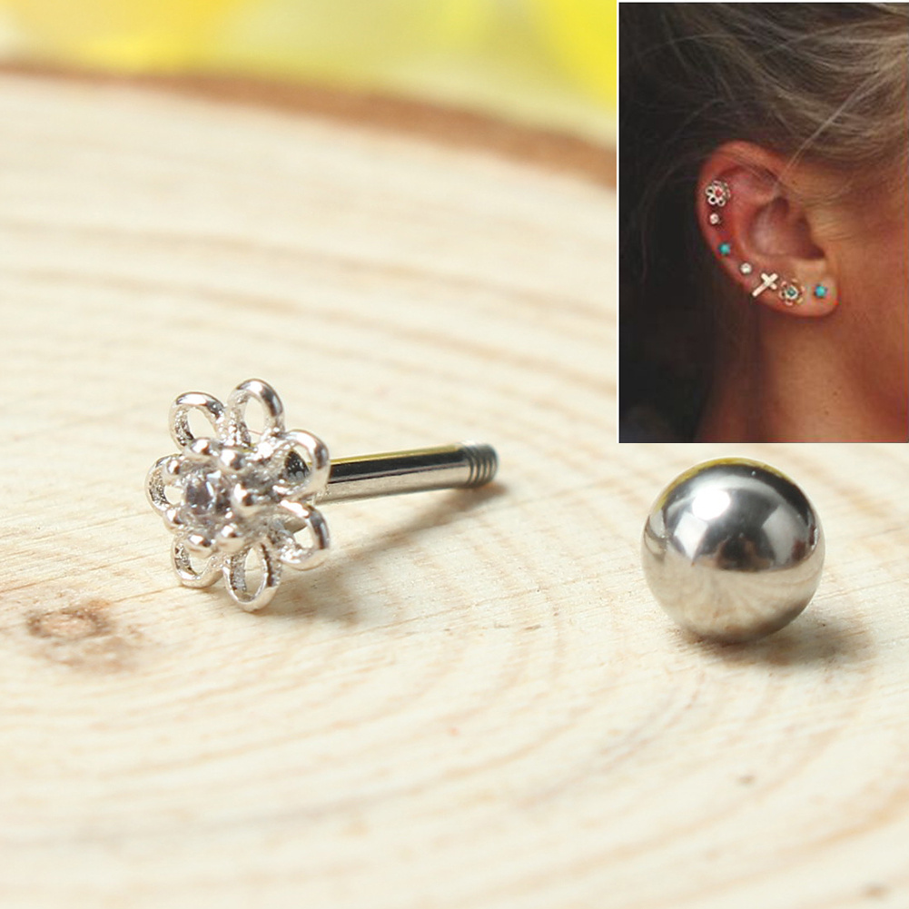 Silver Tone Flower Tragus Ear Stud Cartilage Earring Helix Piercing Jewelry  Gift For Ladies(china