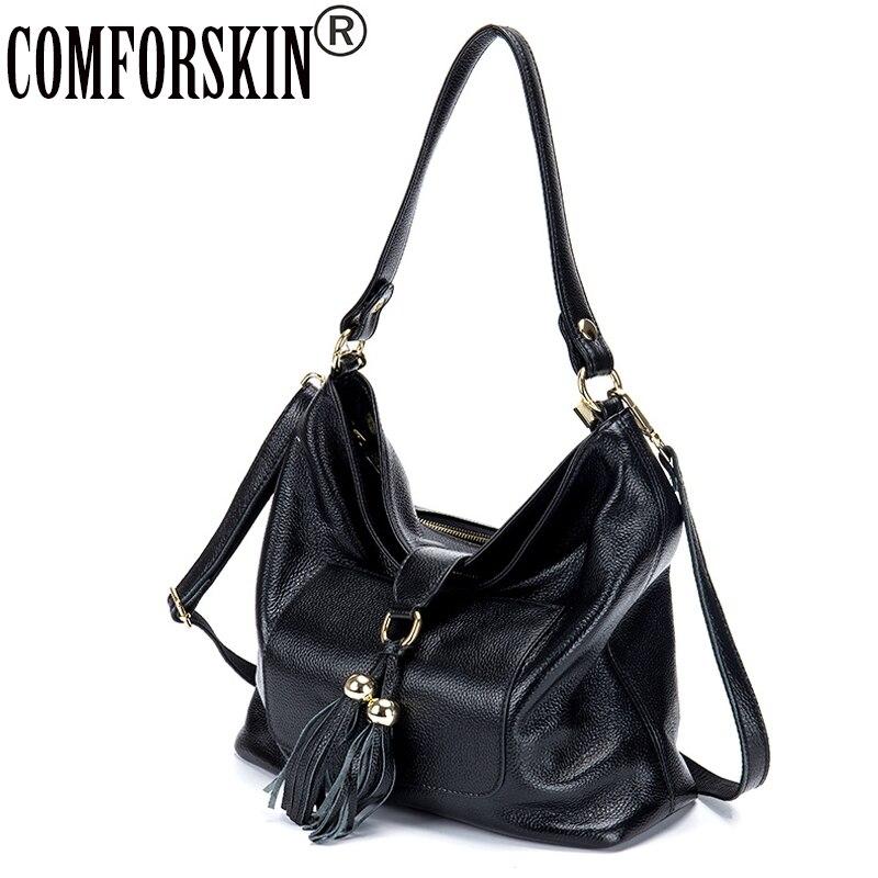 COMFORSKIN Brand Tassel Women Messenger Bags 2018 Luxury Handbags Women Bags Designer Genuine Leather Feminine Totes Hot Sales