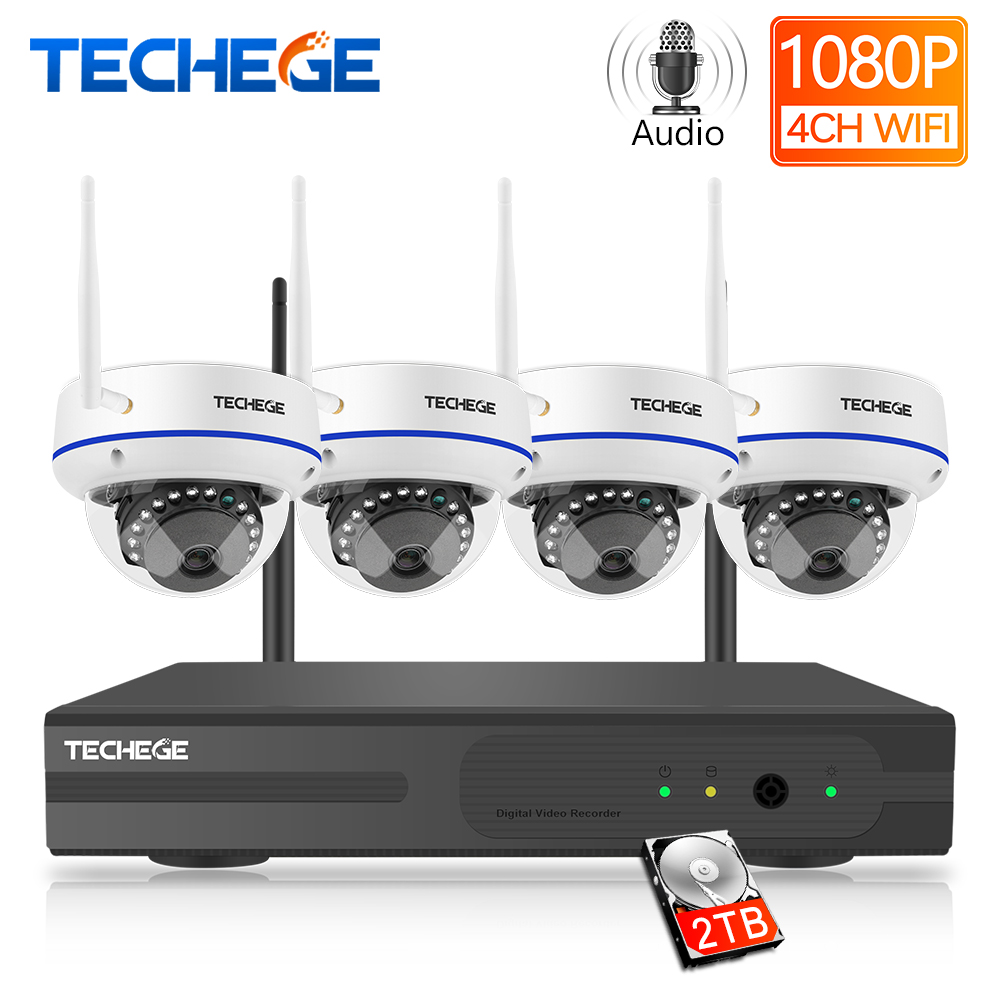 Techege 4CH 1080P H 265 Wireless NVR Kit 2 0MP Audio Record Email Alert Vandalproof IP