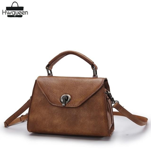 58c72a2e5eaf Vintage Designer Genuine Leather Women s Small Sling Bag Ladies Metal Lock  Handbag Cowhide Female Doctor Bag Cross Shoulder Bag