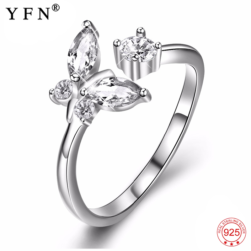 Genuine 925 Sterling Silver Resizable Rings Cubic Zirconia Butterfly Ring Fashion Jewelry For Friends Christmas Gift PYJ0007 mariposa en plata anillo