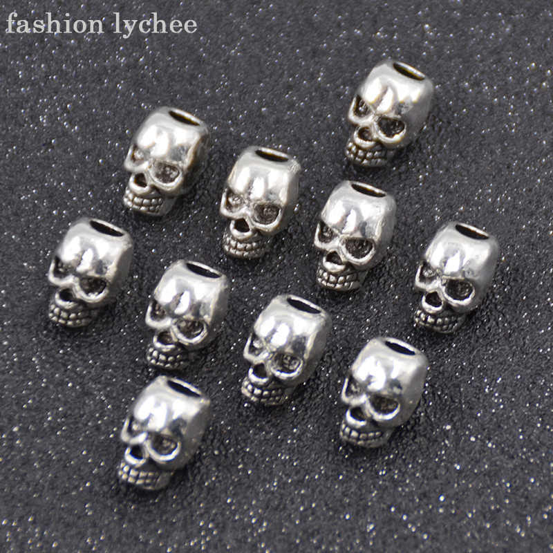 fashion lychee 10pcs Punk Alloy Skull Dreadlock Beads Hair Cuff Charm Beads For Hair Braid Tube Clip Hair Accessories 4mm Hole