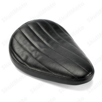 Motorcycle Cafe Racer Seat Parts Tuck Roll Black Leather SOLO Saddle Seat For Harley Sportster Chopper Bobber Custom 650 CB