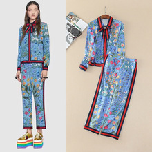 States women's spring/summer 2017 Retro printing long sleeve shirt + 7 minutes of pants sets of assembly diamond brooch