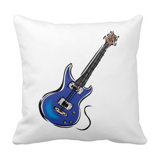 Bedroom Pillow Cover Blue Electric Guitar Music Graphic Png Case Size 20