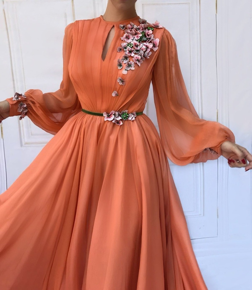 Image 2 - Muslim Orange Long Sleeves Flowers Dubai Evening Dresses A Line  Chiffon Islamic Saudi Arabic Long Prom Gown  Robe de soireeEvening  Dresses