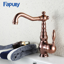 Fapully Luxury Rose Gold Copper Bathroom Sink Basin Faucet Dual Cross Handle Cold Water Single Hole Mixer Tap Deck Mount