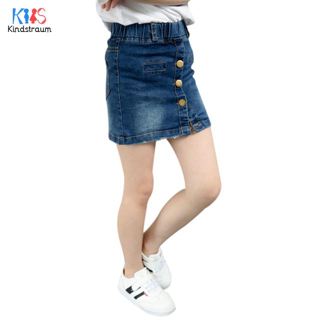 Kindstraum 2017 novo design crianças denim saias moda princesa mini vestido de verão desgaste botão sólidos saias para crianças, rc1155