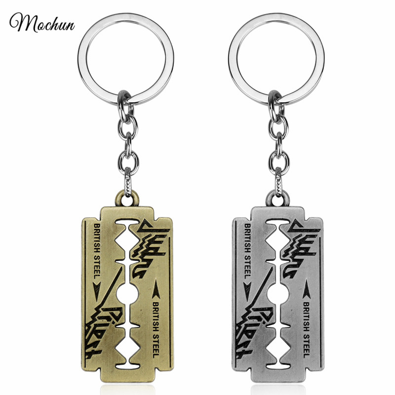 MQCHUN British Rock Band Judas Priest Razor Blade Shape Keychain Dog Tag Metal Keyring Chaveiro Key Chain For Music Fans Gifts trendy solid color metal shovel shape keyring