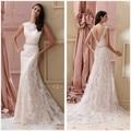 2017 New Designer  Cap Sleeve A-line Lace Backless Wedding Dresses Open Back Bridal Gowns vestidos de novia