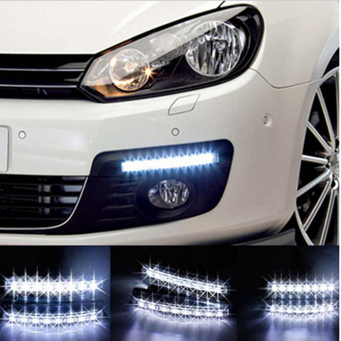 Free shipping New 2pcs/Lot Super White 8 LED Universal Car Light Daytime Running Auto Lamp DRL Auxiliary Light In The Day