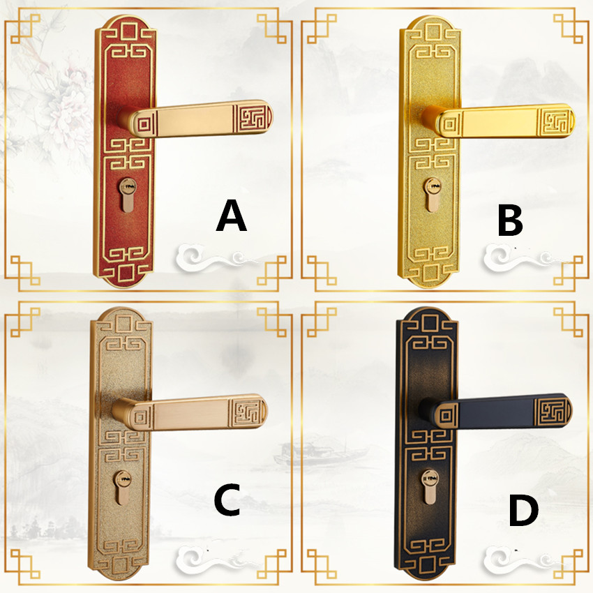 Luxury villa Chinese interior bedroom mute door lock retro room door lock door handle solid wood door lock Fashion liveroom lock modern simple fashion interior room door lock black split mechanical mute solid wood bedroom door lock creative bird handle lock