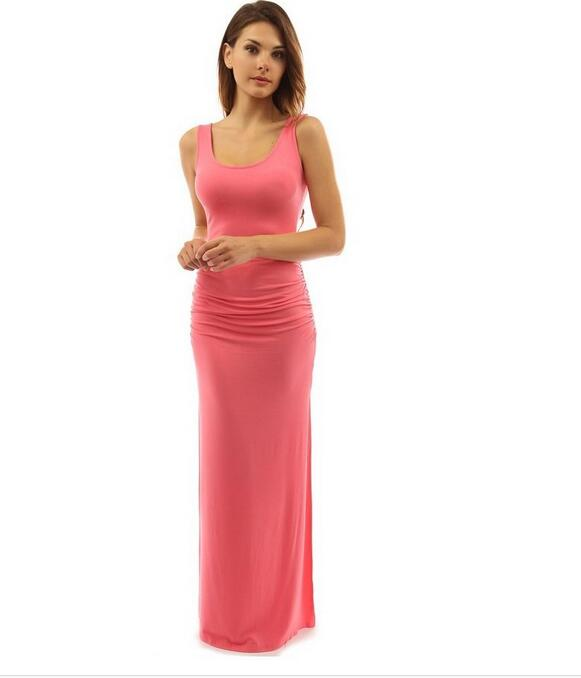 Summer Europe US New Tide Women solid color fold waist dress Sexy Split Fashion Long Party Club female Cloth