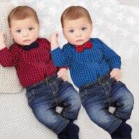 2 adet/takım Avrupa ve Amerikan Boys Beyefendi Ekose Elbise Yenidoğan Bebekler Çocuk Bebek Beyefendi Ekose Gömlek Üst + Kot H0070