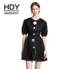 цена на HDY Haoduoyi Women Big Button Embellished Half Sleeve A-Line Mini Dress Side Pocket High Waist Office Lady Daliy Wear