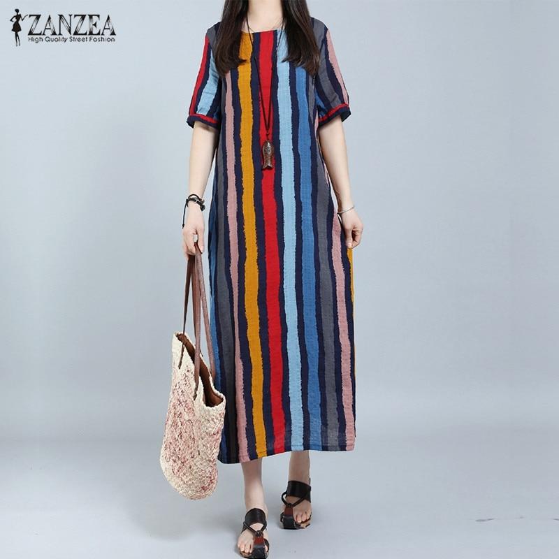 ZANZEA 2 Colors Summer Women Short Sleeve Long Maxi Dress Boho Casual Loose O Neck Striped Dresses Vestido De Festa Plus Size