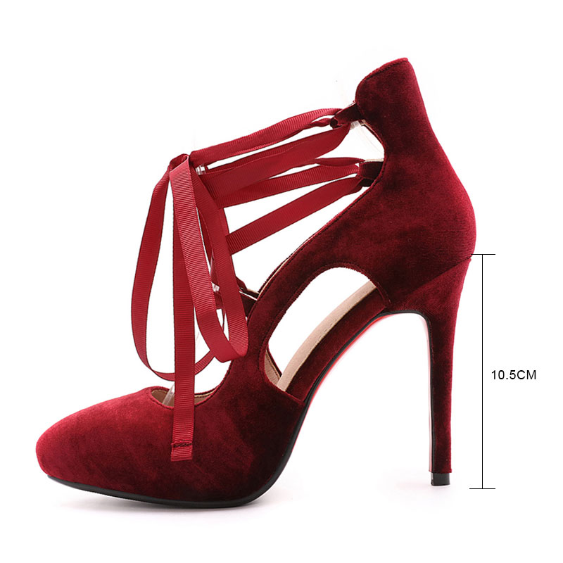 4e6ead489850 new spring Mary Jane shoes women Stilletos sexy Pointed toe high heels Red  Black elegant Lace-up chaussures de mariage