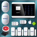 Kerui 8218G 99 wireless zone and 2 wired Quad-Band LCD Screen home security PSTN GSM alarm system with 2pcs Motion sensors