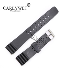 CARLYWET 20mm Black Replacement Silicone Rubber Straight  End Wrist watch Band Strap Belt Silver Polished Pin Spring Bar Buckle