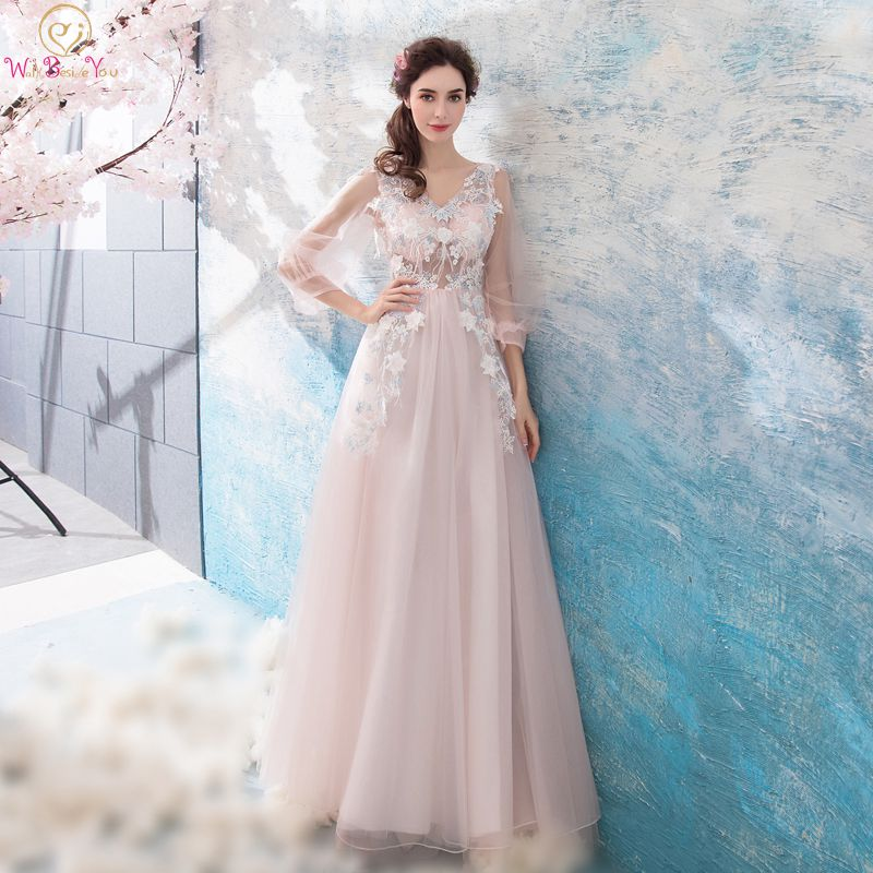 Walk Beside You vestido de noiva   Prom     Dresses   Blush Pink 3/4 Three Quarter Sleeves Lace Appliques Long Longo Sexy Evening Gowns