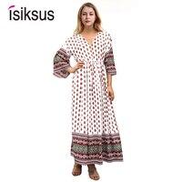 Isiksus 2018 Sexy Lace Up V neck White Long Sleeve Autumn Women Dress Vintage Loose Sundress Beach Boho Brick Maxi Dresses DR097