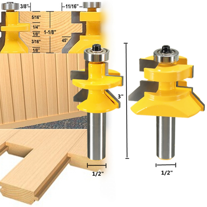 2pcs Router Bit Set 1/2 inch X 3 inch Matched Tongue & Groove V- Notch 45 degree Cutter Kit Tool Woodworking 2pcs tongue