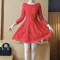 Цветочные самая красивая принцесса кружева красный розовый черный платье девушки 14 элегантный длинный рукав девушки одеваются подростковой одежды 150 160 170 см