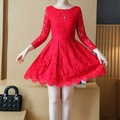 Floral vestido de la muchacha más hermosa princesa de encaje rojo rosa negro 14 elegante de manga larga vestido de las muchachas adolescentes ropa 150 160 170 cm