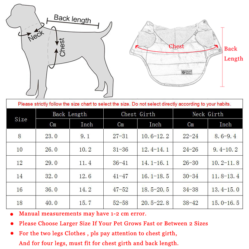 Autumn Winter Pet Clothes For Small Dogs Warm Puppy Pet Coat Jacket Waterproof Dog Hoodies Chihuahua