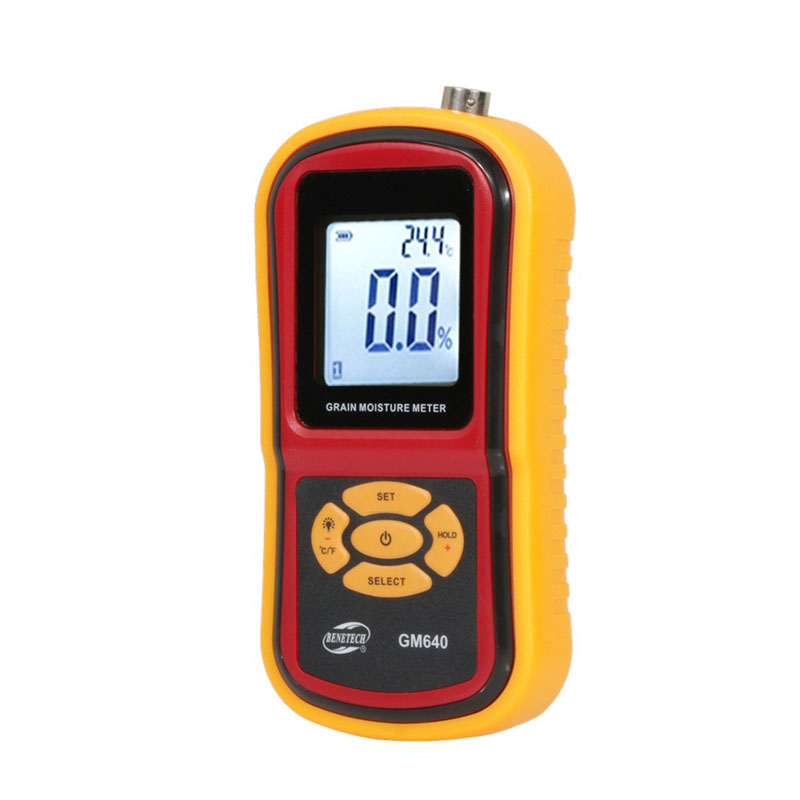 GM640 Digital Grain Moisture Meter with Measuring Probe Portable LCD Hygrometer Humidity Tester for Corn Wheat