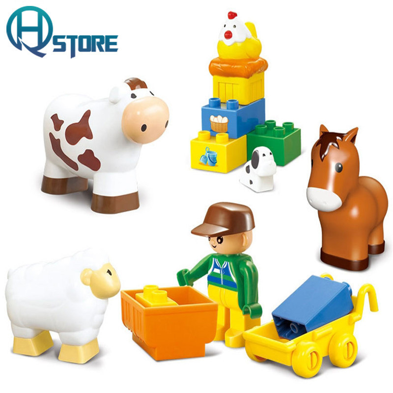 Ranch Pasture Animal Building Blocks Compatible with Legoelieds Playmobil Educational Toys for Children with Original Box