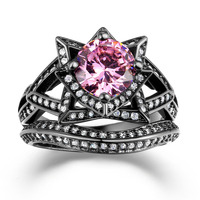 Top Quality Design Black Gold Ring With Pink Cz Diamond Engagement Ring Flower Large Fashion Jewelry