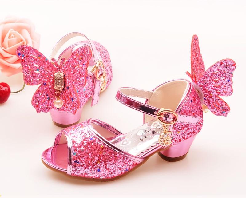 6fda8614c88f ULKNN Girls Sandals Rhinestone Butterfly pink Latin dance shoes 5-13 years  old 6 children 7 summer high Heel Princess shoes kids. Text. Text. Text