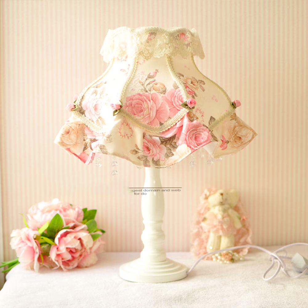 Lamp European-style garden lace wedding sweet cloth decorated bedroom bedside lamp european style garden princess bedroom bedside lamp shade cloth fabric floral lace crystal simple dimmable