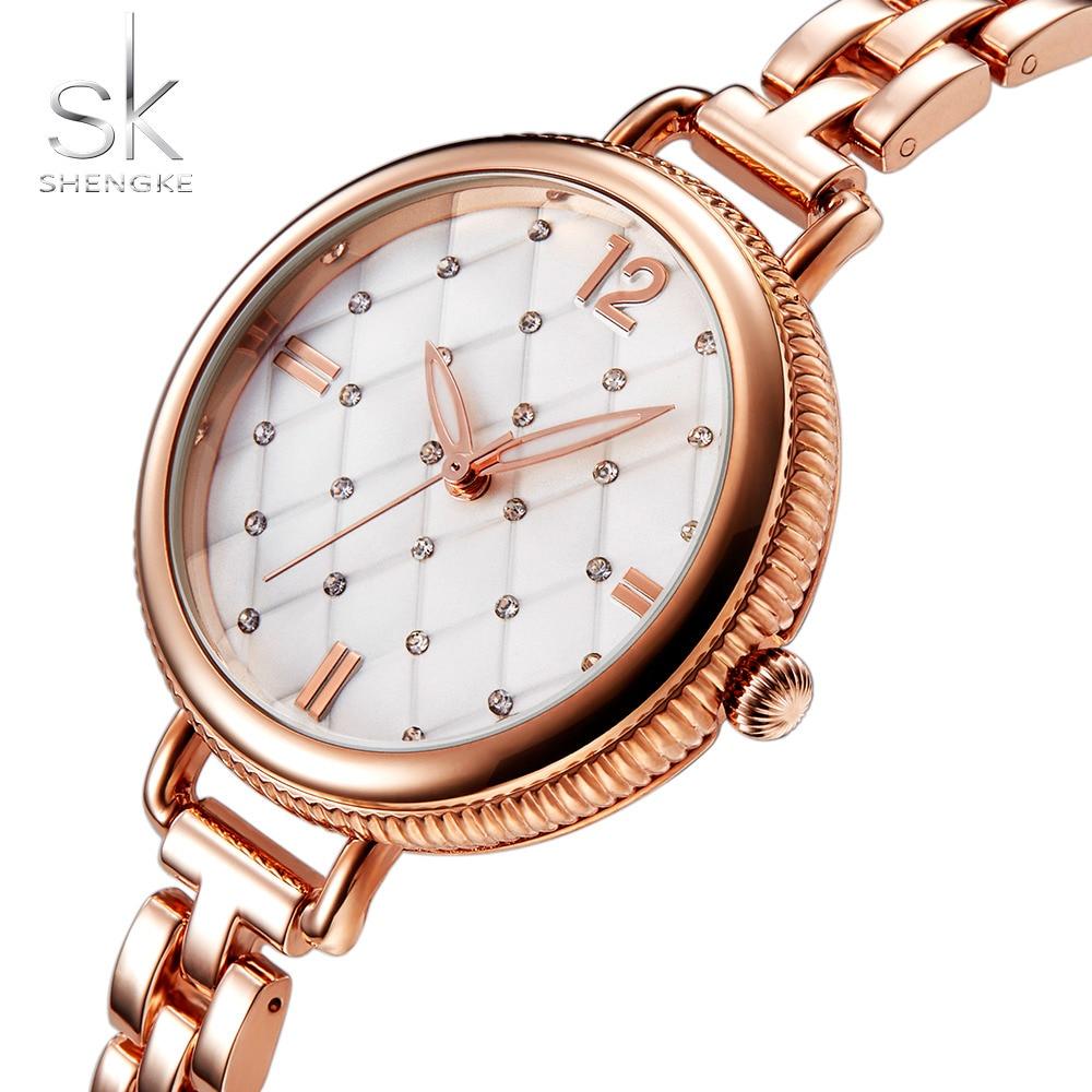 Shengke Brand Quartz Wrist Watches Fashion Watches Women Casual Dress Luxury Gold Ladies Rhinestone Waterproof Reloj Mujer 2017