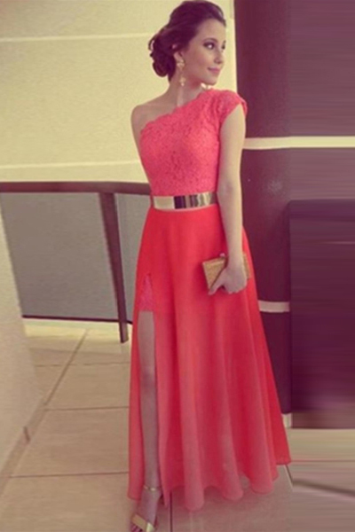 Sexy Red A-Line One Shoulder Evening Gowns Lace Top with Lace Front Slit Side Golden Belt Custom Made   Prom     Dress   ZY4598