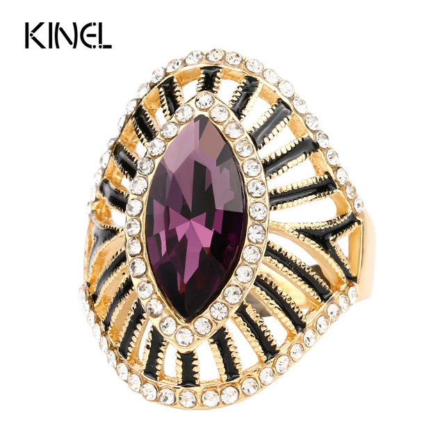 Fashion Purple Crystal Glass Engagement Ring Black Enamel CZ Zircon Gold Color R