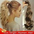 Блондинка парики wrap around хвост расширение Бразильский реми HumanHair хвост Клип в естественное Тело волна Настоящие волосы хвост