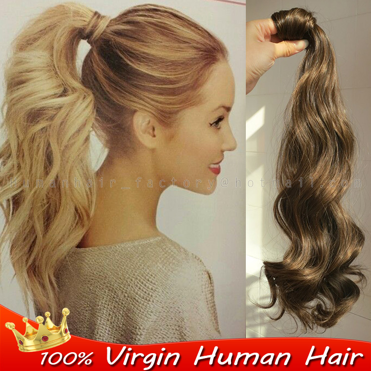 Blonde Hairpiece Wrap Around Ponytail Extension Brazilian Remy