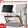 Beschermhoes voor Huawei MediaPad T3 8.0 KOB-L09 KOB-W09 voor 8 ''Tablet PC stand slim case voor Honor Spelen Pad 2 8.0 + gratis 3 geschenken